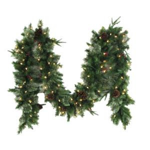 12 ft. Syracuse Cashmere Berry Artificial Garland with 100 Clear Lights-BOWOTHD171B 205982747