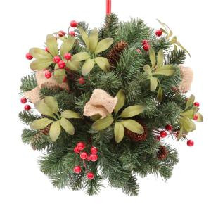 14 in. Unlit Artificial Kissing Ball with Red Berries and Pinecones-2168200HD 205080229