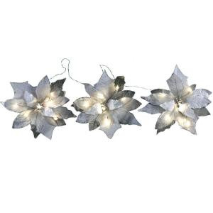 18-Light Battery Operated LED White 3-Poinsettia Flower Garland-FG02-1W018-A1 202938552