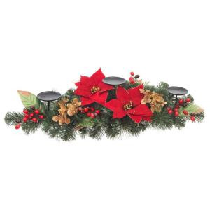 32 in. Artificial Red Poinsettia Candleholder Centerpiece-2258440HD 206005432