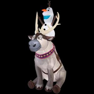35.83 in. W x 58.27 in. D x 90.16 in. H Lighted Inflatable Olaf Sitting on Sven Scene-11431 206950428