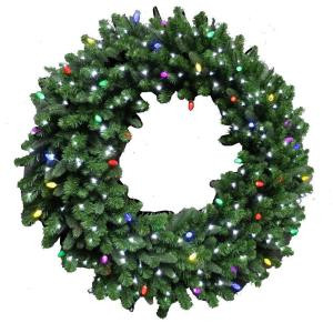 48 in. LED Pre-Lit Artificial Christmas Wreath with Micro-Style Pure White and C7 Multi-Color Lights-4723173-30HO 206771057
