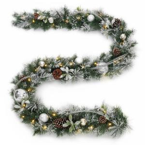 9 ft. Battery Operated Snowy Silver Pine Artificial Garland with 36 Clear LED Lights-2258340HD 205994552