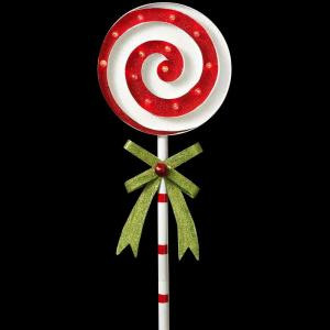 Gerson 39 in. H Battery Operated Lighted Metal Holiday Swirl Lollipop Yard Stake-2273260HD-2A 206997386