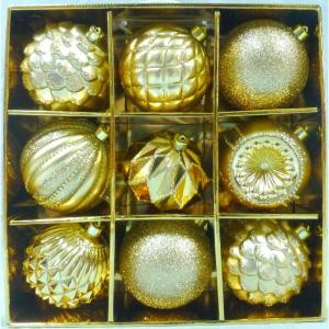 Home Accents Holiday 130 mm Gold Shatterproof Ornament (9-Count)-C-16916A 206954438