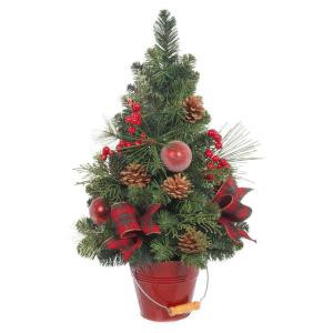 Home Accents Holiday 24 in. H Holiday Pine Tree with Red Berries and Ornaments in Red Bucket Pot-2323330HD 206954297