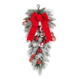 Home Accents Holiday 32 in. Flocked Pine Teardrop with Red and White Balls-2321290HD 206771291