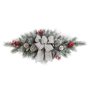 Home Accents Holiday 32in. Snowy Pine Swag with Pinecones Berries and Striped Bow-2320730HD 206771257