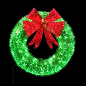 Home Accents Holiday 36 in. Green Tinsel Wreath with Twinkling Lights-W12L0568 205919416