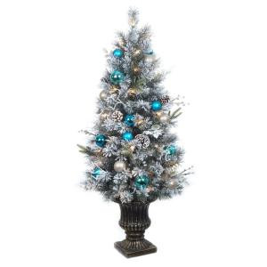Home Accents Holiday 4 ft. Pre-Lit Flocked Pine Porch Artificial Tree with 50 Clear UL Twinkle Lights-2321670HD 206771247