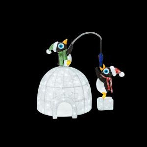 Home Accents Holiday 48 in. LED Lighted Tinsel and Acrylic Igloo with Fishing Penguins-TY251-1611-1 206954553
