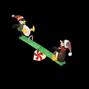 Home Accents Holiday 48 in. LED Lighted Tinsel Penguins on Seesaw-TY753-1614-0 206963077