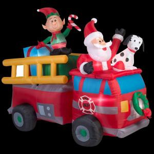 Home Accents Holiday 83.86 in. W x 40.16 in. D x 68.50 in. H Lighted Inflatable Santa's Fire Truck Scene-39466 206950185