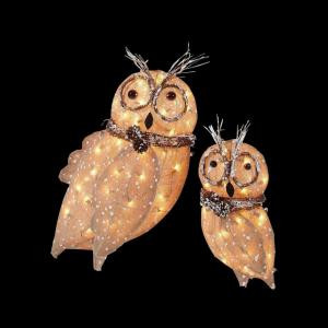 Home Accents Holiday Pre-Lit Burlap Owl Family (Set of 2)-TY029-1414 205092247