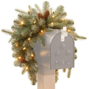 Martha Stewart Living 3 ft. Battery Operated Feel-Real Alaskan Spruce Artificial Mailbox Swag with Pinecones and 35 Clear LED Lights-PEFA1-307L-3MB1 205147131