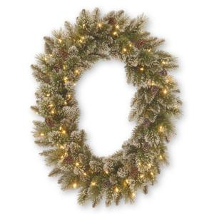 Martha Stewart Living 30 in. Sparkling Pine Oval Artificial Wreath with 50 Clear Lights-GB1-304-30W-1 205982358