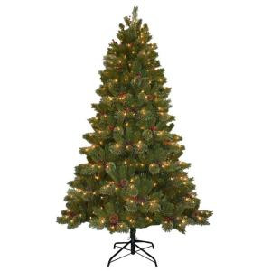 National Tree Company 10 ft. Cashmere Cone and Berry Decorated Artificial Christmas Tree with 850 Clear Lights-CCB19-100LO 205146930