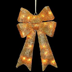 National Tree Company 23.5 in. Pre-Lit Gold Sisal Bow-MZBO-235GLO-1 205572859