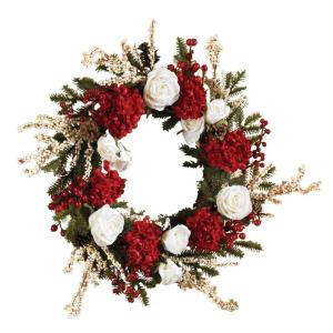 Nearly Natural 24 in. Hydrangea Wreath with White Roses-4899 100686420