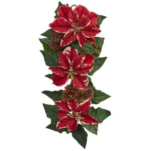 Nearly Natural 25 in. Poinsettia, Pine Cone and Burlap Teardrop-4872 206585515