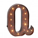 """12 in. H """"Q"""" Rustic Brown Metal LED Lighted Letter-92669Q 206625115"""