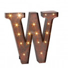 """12 in. H """"W"""" Rustic Brown Metal LED Lighted Letter-92669W 206625121"""