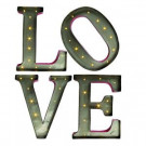 """14 in. H Red and Silver Metal LED Lighted """"LOVE"""" Letters with Timer-92255 206625135"""