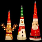 18 in. Reindeer, 24 in. Snowman, 32 in. Santa Pre-Lit LED Character Cones-96595_MP1 206955514