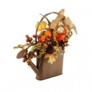 18.5 in. Metal Watering Can Harvest Gourd and Pinecone Arrangement-2217360 206508976