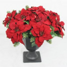 22 in. Battery Operated Artificial Poinsettia Topiary with 35 Clear LED Lights-BOWOTHD180B 205982761