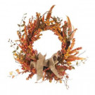 24 in. Fall Berry Artificial Wreath with Burlap Bow-2207760 206498726