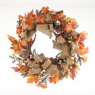 24 in. Pumpkin and White Berry Artificial Wreath-2207820 206498727