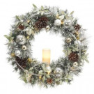 30 in. Battery Operated Snowy Silver Pine Artificial Wreath with 30 Clear LED Lights and LED Candle-2258330HD 206005412