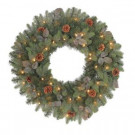 30 in. Greenland Artificial Wreath with 50 Clear Lights-GD26P2534C00 204146916