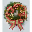 30 in. Pre-Lit Artificial Wreath with Red Jeweled Ribbon-W-RJW-30W-ONL 205151076