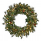 30 in. Pre-Lit B/O LED Alexander Pine Artificial Christmas Wreath x 140 Tips with 50 Warm White Lights-GD26M5311L00 206795382