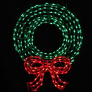 36 in. Pre-Lit LED Outdoor Wreath with Bow Sculpture and 280 C5 Twinkling Green and Red Lights-7407096UHO 205182056
