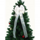 9 in. White Ribbon LED 36-Light Bow-RB34-W009-A 202371857