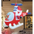Airflowz 6 ft. Inflatable Hanging Animated Santa Helicopter Reindeer-74657 206996241