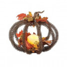 Gerson 8 in. Metal Wire Pumpkin Centerpiece with LED Timer Candle-2091730 206498724