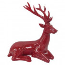 Home Accents Holiday 12 in. H Red Glazed Sitting Reindeer-LX1286-R 205930724