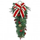 Home Accents Holiday 32 in. LED Pre-Lit Jolly Artificial Swag with Ribbon, Baubles, and 35 Battery-operated Warm-White Lights-CHZH17616103THY 206771171