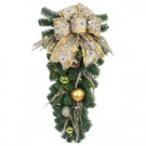 Home Accents Holiday 32 in. LED Pre-Lit Manhattan Artificial Swag with Ribbons, Baubles, and 35 Battery-operated Warm-white Lights-BOWOTHD1608THY 206771174