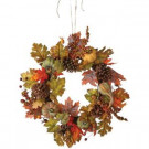 Home Decorators Collection Green Harvest 24 in. Artificial Wreath with Pumpkin, Gourd and Maple Leaf-9748200730 300134208