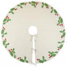 Martha Stewart Living 52 in. Holly and Berries Christmas Tree Skirt-9717300730 300274289